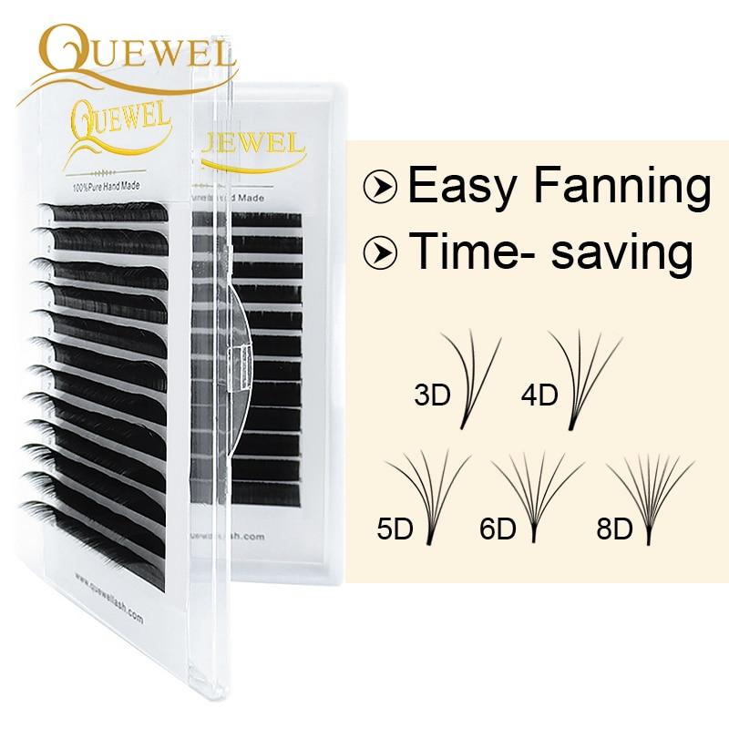 Ресницы Quewel с автоматическим цветением для наращивания, ресницы с быстрым эффектом, легкие цветущие ресницы 0,03-0,10 мм, шелковые Накладные ре...