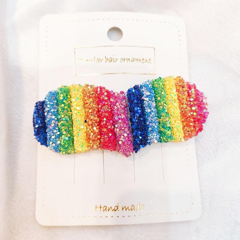 Купить с кэшбэком 1Pcs Season Rainbow BB Bangs Hair Clip Handmade Resin Sequins Geometry Love Hairclip Hair Decoration Barrette Styling Tools