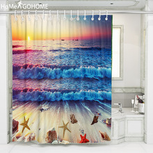 Ombre Sunrise Gradient Seascape Shower Curtains Bathroom Curtain Thicken Waterproof Bath Curtain with Hooks for Home Decoration thicken waterproof shower curtain with hooks