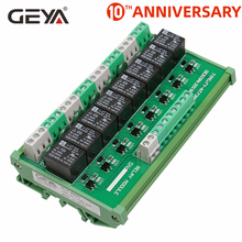 GEYA 8 Channel Interface Relay Module 12VACDC 24VACDC DIN Rail Panel Mount for Automation PLC Board fuse module din rail mount 8 channel fuse power distribution module board