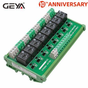 GEYA 8 Channel Interface Relay Module 12VACDC 24VACDC DIN Rail Panel Mount for Automation PLC Board geya ng2r 14 channel relay module din rail mounted 1 spdt replaceable relay board plc omron relay
