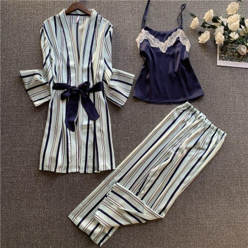 Image 2 - QWEEK Women Pajama Set 3 Pieces Nightwear Satin Floral Lingerie Pyjama Clothes for Sleeping Lounge Wear Sleep Wear Women pijamaPajama Sets   -