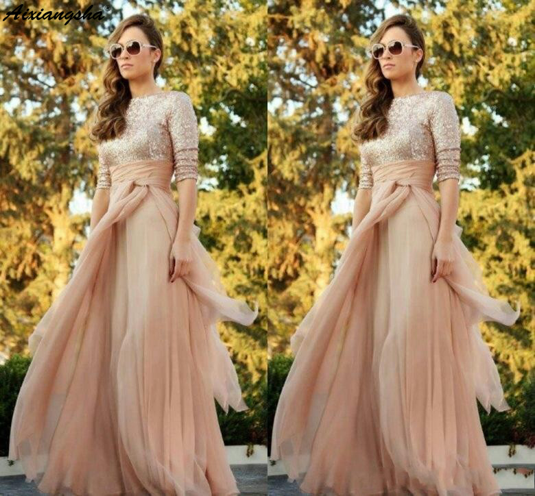 Champagne Sparkly Sequined Top Long Sleeves Evening Gowns A Line Ruffles Sweep Train Crew Neck   Prom     Dress   2019