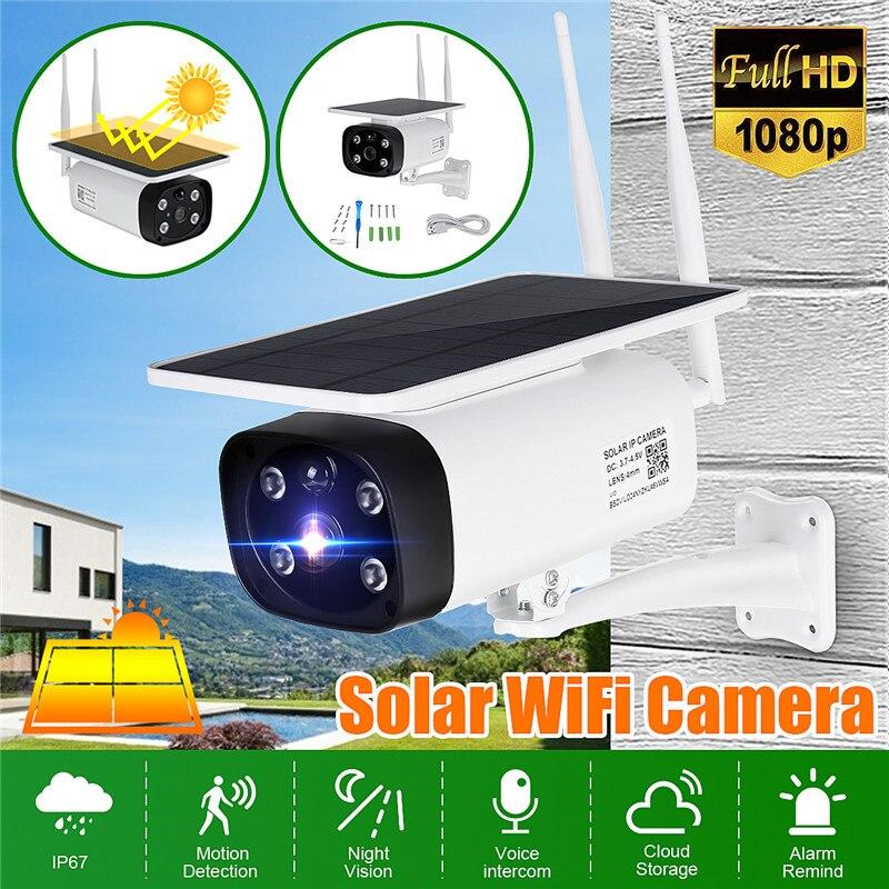 1080 p câmera ip solar sem fio wi-fi de vigilância segurança ip67 à prova dip67 água ao ar livre câmera visão noturna ir energia solar câmera hd