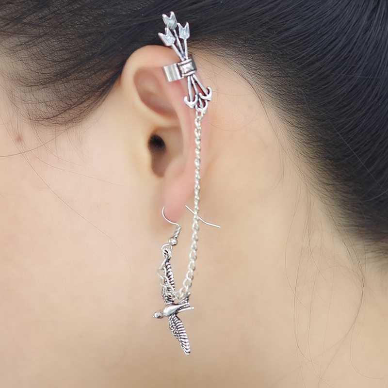 1 pieza Retro perno de aro golondrina larga cadena de eslabones oreja Clip pendiente y 1 pieza Strass cristal oreja puños pendientes lujo plata