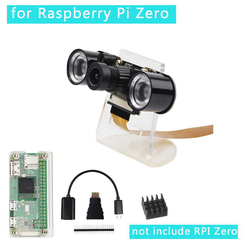 7 in 1 Raspberry Pi Zero W Camera + Holder + Acrylic Case + Heat Sink + Mini HDMI Adapter + GPIO Header + USB Cable RPI Camera