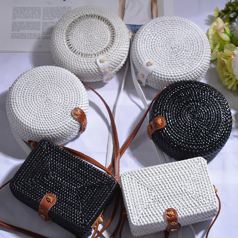 Rattan Bag Handbag Straw-Bags Bali-Box Cross-Body-Bag Black White Women Round Beach Summer