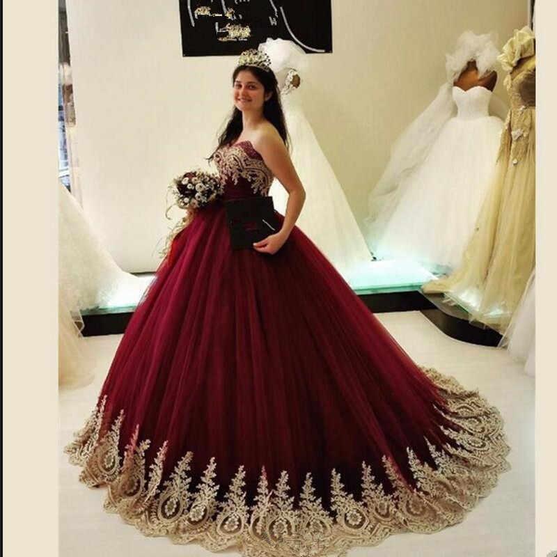 Borgogna Lungo Abiti da ballo di Tulle dell'innamorato Puffy Con Oro Del Merletto Appliques Abiti di Sfera del Vestito Da Sera 2020