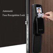 Cerradura de reconocimiento Facial inteligente automática, compatible con contraseña, huella dactilar, tarjeta de impresión de Palma, llave mecánica
