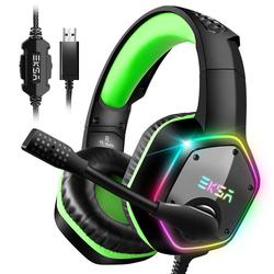 EKSA E1000 Gaming Headphones With Noise Cancelling Microphone RGB Light 7.1 Surround Sound Wired Gaming Headset Gamer For PS4 PC