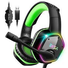 EKSA E1000 سماعات الألعاب مع ميكروفون إلغاء الضوضاء RGB ضوء 7.1 الصوت المحيطي السلكية سماعة الألعاب ألعاب ل PS4 PC