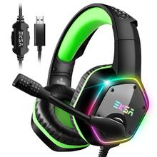 EKSA E1000 casque de jeu avec Microphone antibruit lumière rvb 7.1 son Surround casque de jeu filaire Gamer pour PS4 PC