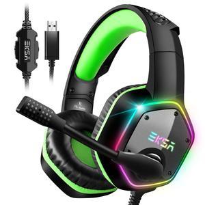 Image 1 - Eksa e1000 jogos fones de ouvido com cancelamento de ruído microfone rgb luz 7.1 surround som com fio gaming headset gamer para ps4 pc