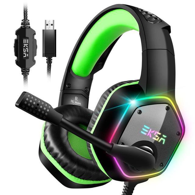 Eksa e1000 jogos fones de ouvido com cancelamento de ruído microfone rgb luz 7.1 surround som com fio gaming headset gamer para ps4 pc