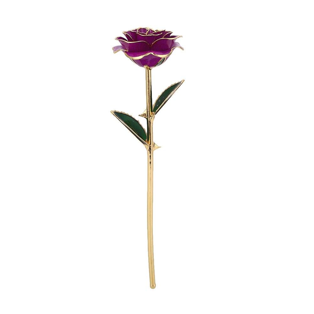 Цветочный декор, искусственный цветок, искусственная Роза, украшение, искусственная имитация, цвет, золотая фольга, 10 цветов, растительный орнамент, фестиваль - Цвет: Purple