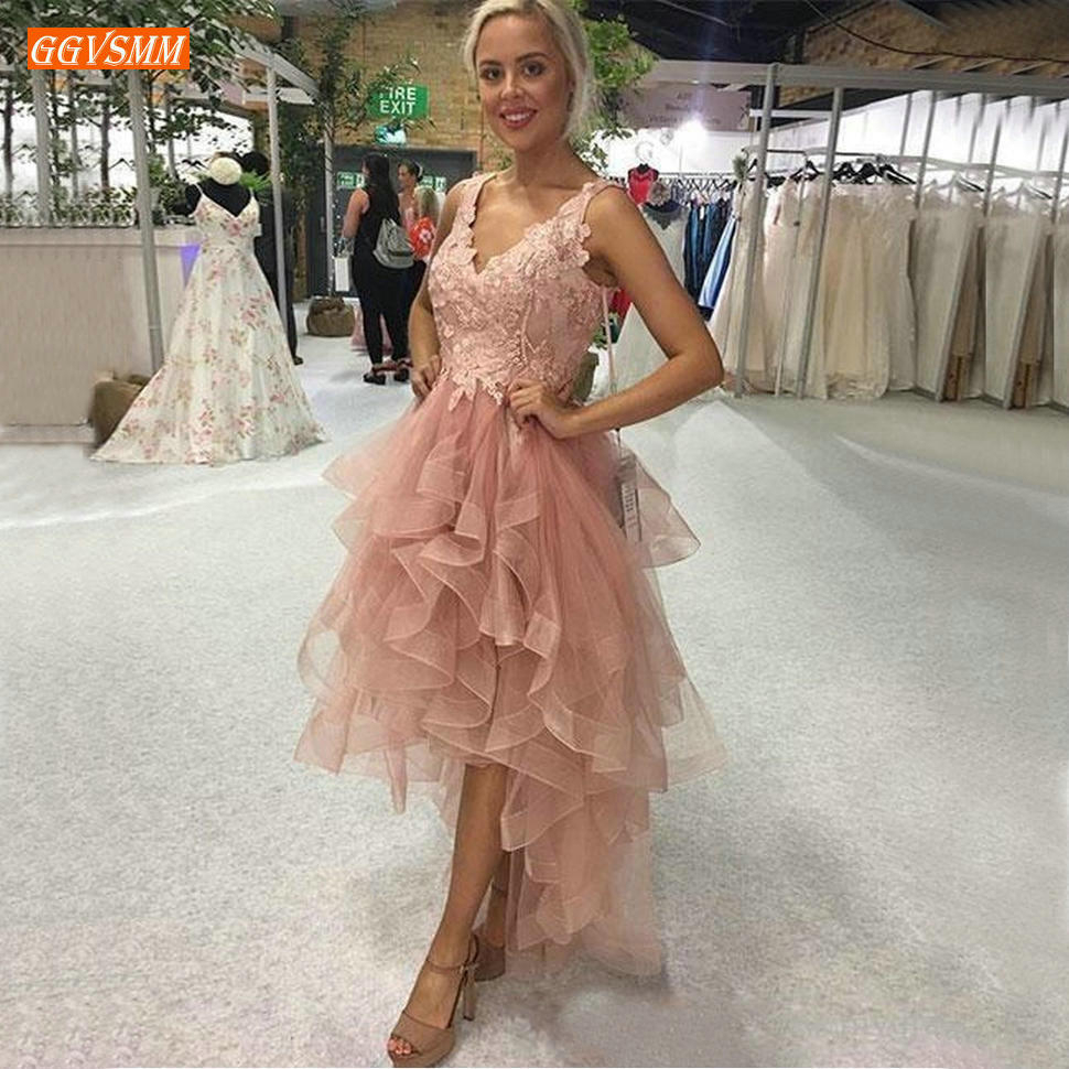 Romantic Boho Blush Pink Ruffles Prom Dresses 2020 Lace V Neck Evening Gowns High Low Women Customized Formal Dress Masquerade
