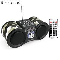 RETEKESS V113 радио ресивер FM-стерео портативный транзистор Поддержка Mp3 музыкальный плеер с динамиком Micro SD Если карта AUX пульт дистанционного уп...