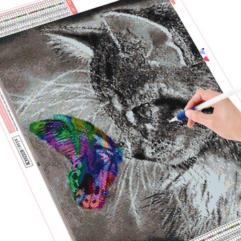 Huacan 5D Cat and Butterfly Diamond Embroidery Europe Home Decor DIY Diamond Painting of Rhinestones
