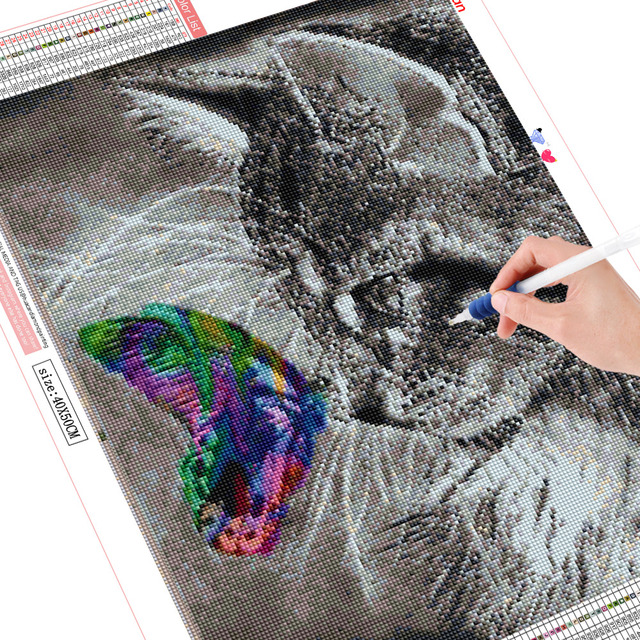 Huacan 5D Cat and Butterfly Diamond Embroidery Europe Home Decor DIY Diamond Painting of Rhinestones Unfinished