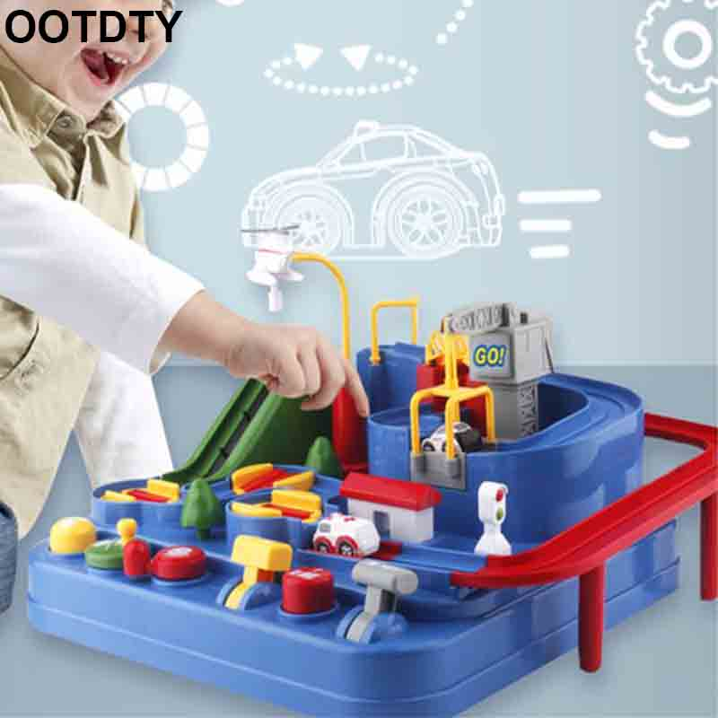 Manual Car Adventure Track Toys For Children Educational Rescue Vehicles Adventure Toys Parking Lot Simulation Gift For Toddlers