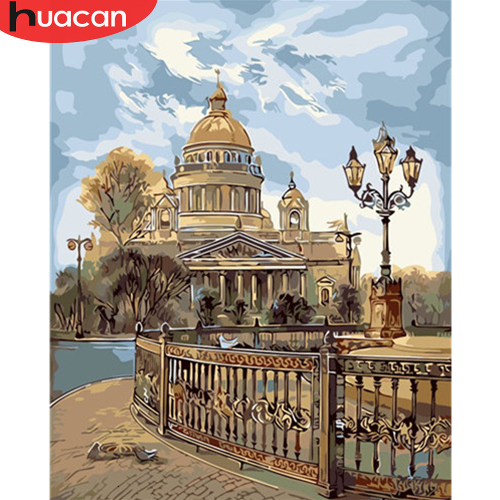 HUACAN Coloring By Number City Landscape HandPainted Kits Drawing Canvas Oil Painting Building Pictures Home Decoration
