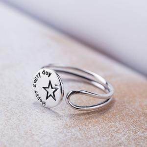 Image 2 - Acecare Eenvoudige en kleine verse 925 zilveren ronde belettering stars open ring Japanse en Koreaanse mode trend gepersonaliseerde ring