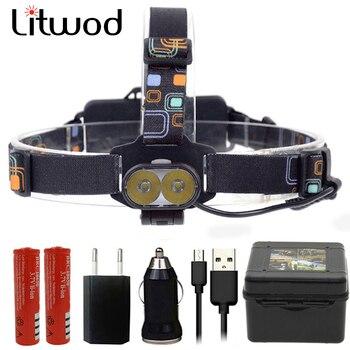 Litwod Z207314 Super 20000LM linterna frontal USB 2 * XM-L2 T6 LED recargable 18650 linterna frontal linterna con cargador