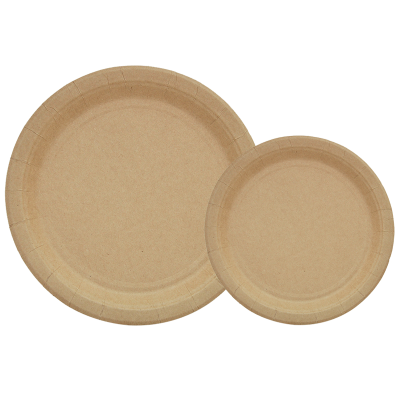20pcs 7inch/9inch Disposable Solid Kraft Browm Paper Dessert Plates Party Supplies Cake Dish Tableware Dinner Eco-friendly