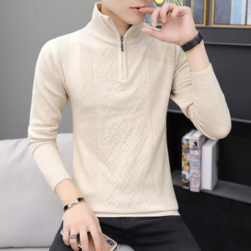2019 Men's Clothing Sweaters Autumn Winter Warm Cashmere Wool Zipper Pullover Sweaters Man Casual Slim Knitwear Plus Size S-XXXL