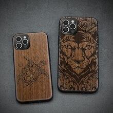 Carveit אגוז עץ כיסוי רך קצה טלפון מקרה עבור iPhone 12 מיני 11 פרו מקסימום X XS XR SE 2020 7 8 בתוספת עץ אבזר דק גוף