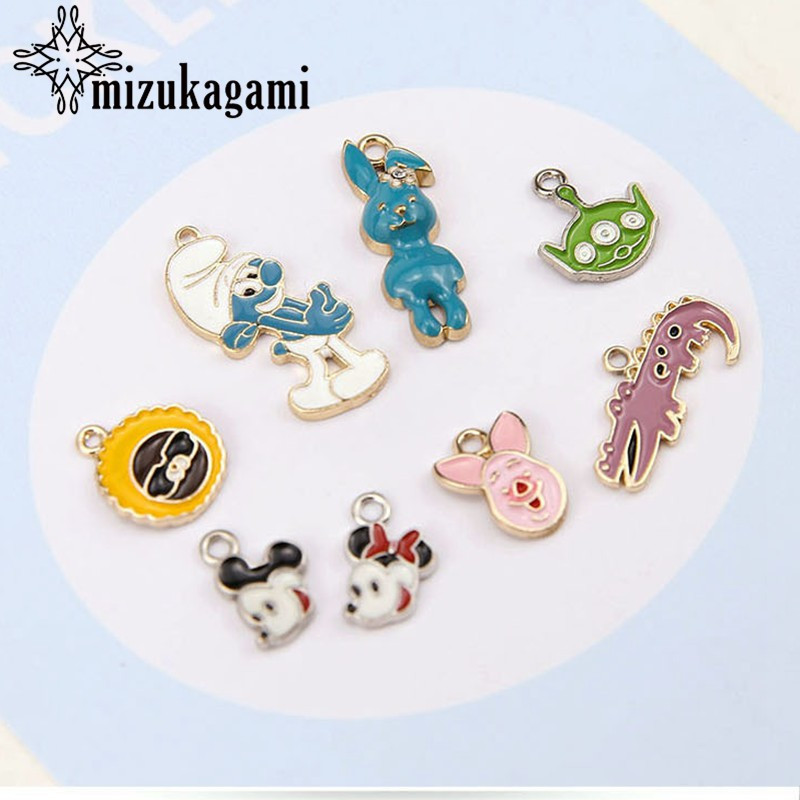 10pcs/<font><b>lot</b></font> DIY Handmade <font><b>Jewelry</b></font> Accessories Alloy Drip <font><b>Fun</b></font> Cartoon Rabbit Mickey Pig Crocodile Earrings Pendant Material image
