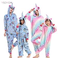 Nowy Kigurumi chłopcy dziewczęta jednorożec piżamy kobiety zwierząt Stitch Panda piżamy Onesie dzieci dziecko kombinezon piżamy koc kombinezony tanie tanio YSOYOK Poliester Cartoon unicorn pajamas Flanelowe Unisex Pasuje prawda na wymiar weź swój normalny rozmiar pijama unicornio