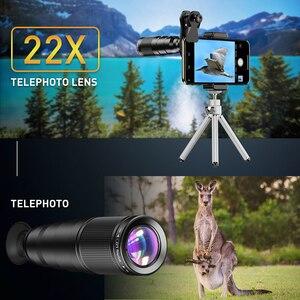 Image 2 - APEXEL 2020 جديد HD الهاتف عدسة الكاميرا عدة 4in1 آلة تكبير تليفوتوغرافي أحادي تلسكوب 22X ماكرو عدسة عين السمكة واسعة مع ترايبود عن بعد