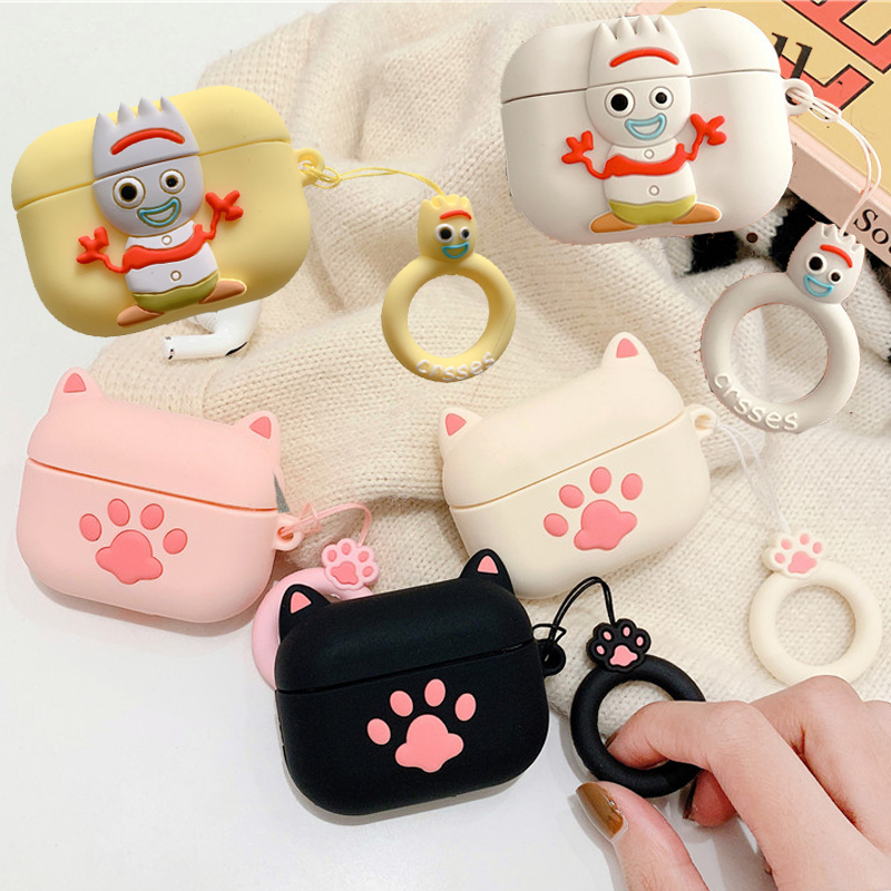 For Airpods Pro 3d Cute Cartoon Cat Paws Earpods Case For Apple