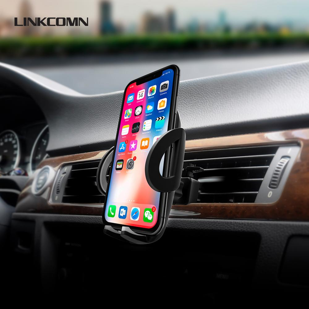 LINKCOMN Car Phone Holder Stand Mobile Auto Clip Air Vent Mount 360 Degree Rotation Support IPhone Huawei Oppo Xiaomi Samsung
