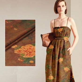 150cm wide silk linen fabric meter 19mm printed linen silk fabric vintage chinese silk fabric wholesale linen cloth фото