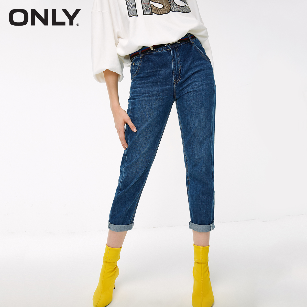 ONLY Women's Loose Straight Fit Low-rise Roll-up Crop Jeans | 119149690