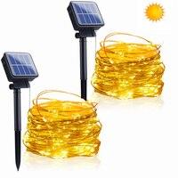 Guirnaldas de luces LED solares para exteriores, lámparas parpadeantes de 10M y 20M, 100/200LED, decoración impermeable de Navidad para el hogar y el jardín, 1 Uds.