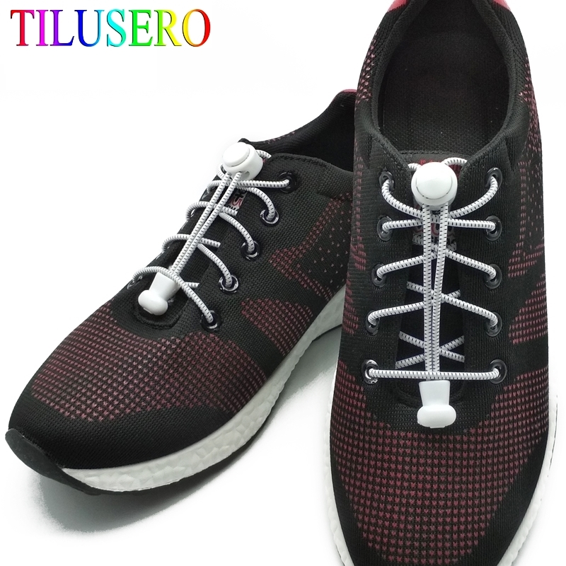 Fashion No Tie Shoelace Stretching Lock Lace 11 Colors A Pair Of Locking Shoe Laces Elastic Sneaker Running Shoelaces