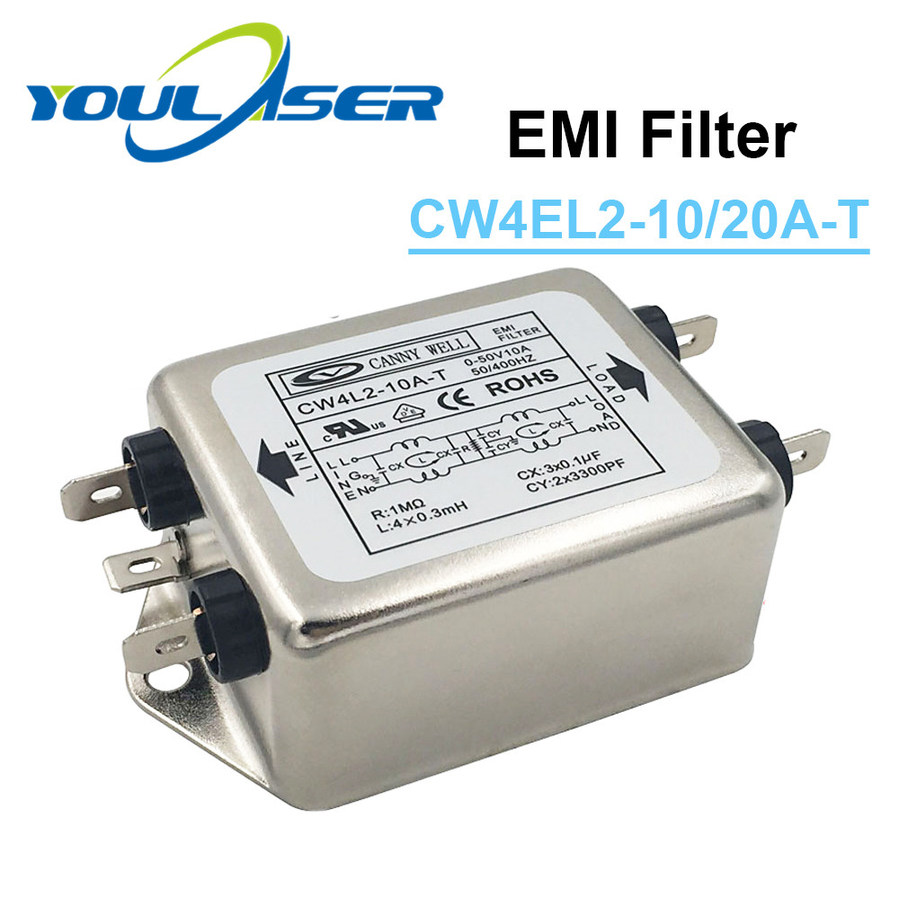 Single Phase Power EMI Filter CW4L2-10A-T / CW4L2-20A-T  AC 115V / 250V 20A 50/60HZ For Laser Engraving And Cutting Machine