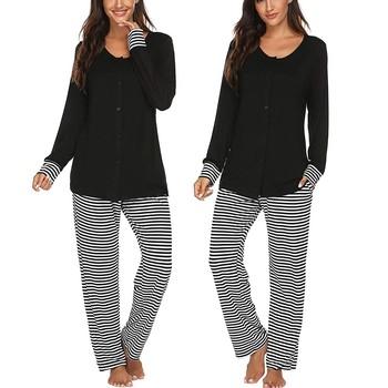 Odzież dla kobiet w ciąży dla kobiet w ciąży odzież dla kobiet w ciąży z długim rękawem T-shirt dla pielęgniarek topy + spodnie w paski piżamy zestaw garnitur tanie i dobre opinie SAGACE CN (pochodzenie) REGULAR Bawełna mieszanki Kostek Pojedyncze piersi Pełnej długości