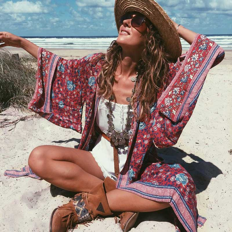 GypsyLady <font><b>Wine</b></font> <font><b>red</b></font> Floral Print Long Kimono <font><b>Shirt</b></font> Bohemeian 2020 belt tied Cardigan Loose summer beach women Blouse Top image