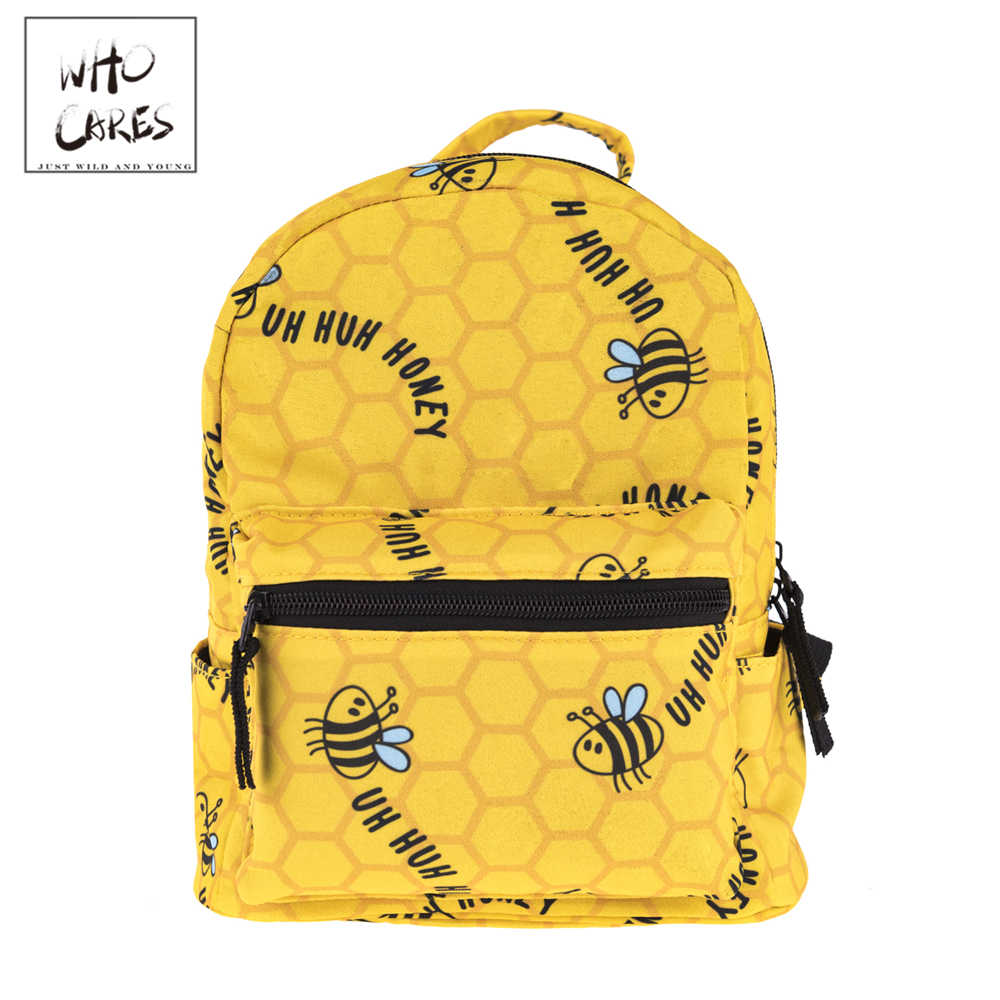 Honey Bee Impressão Mochila feminina Mochila Mulheres Bolsa de Ombro Para Adolescentes Multi-Função Pequeno Bagpack Escola Mochila