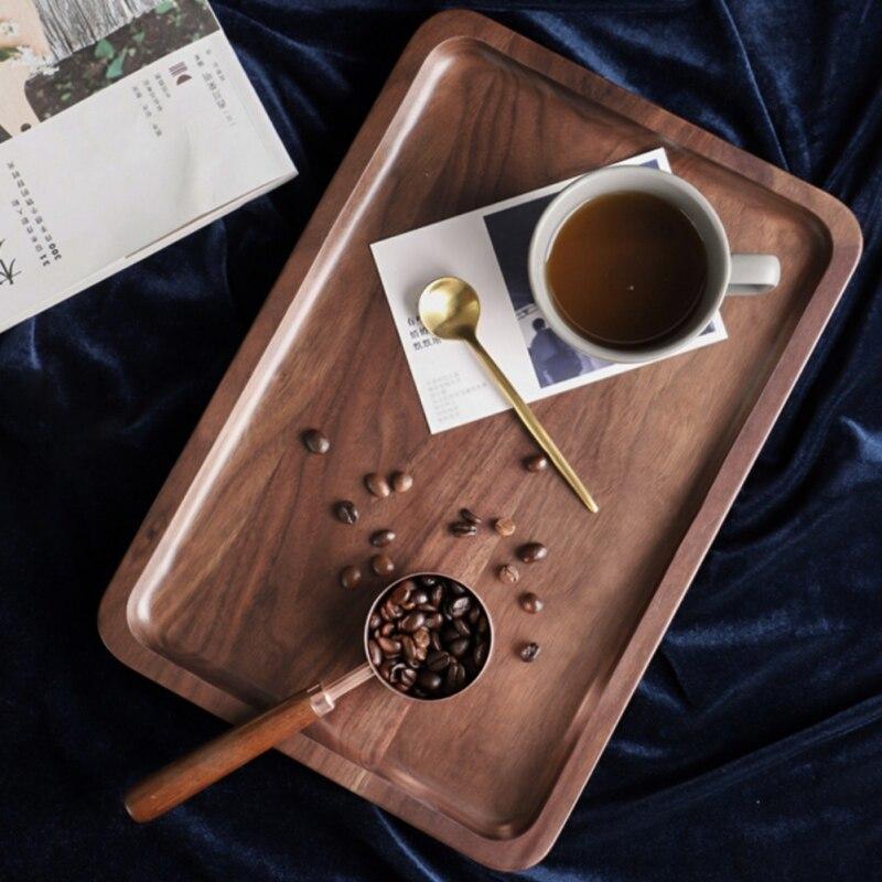Квадратная/круглая тарелка для хранения деревянные подставки лоток для напитков с функцией хранения воды Природный поднос из ореха кухонная посуда-3