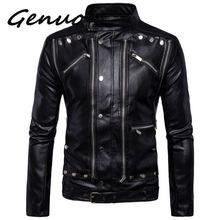Genuo New fashion motorcycle biker leather jackets Multi-zipper Black Men coats jaqueta de couro masculina 5XL