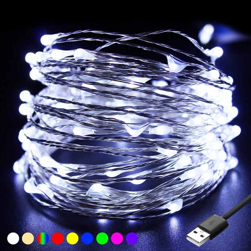 100 lâmpadas led usb luzes da corda guirlandas festão luces led decorações de natal luz para sala estar interior
