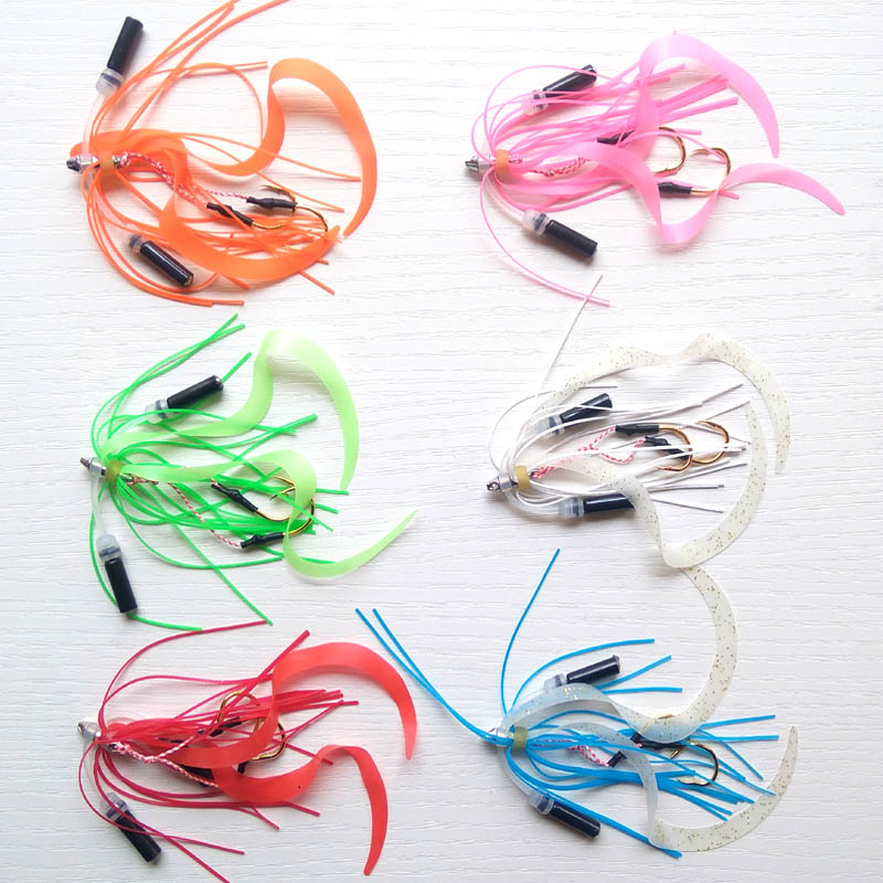 13# 50pcs Silicone Skirt with bell Rubber jig skirt hooks Assist hook jigging hook sea fishing hook Jig head fishing hook