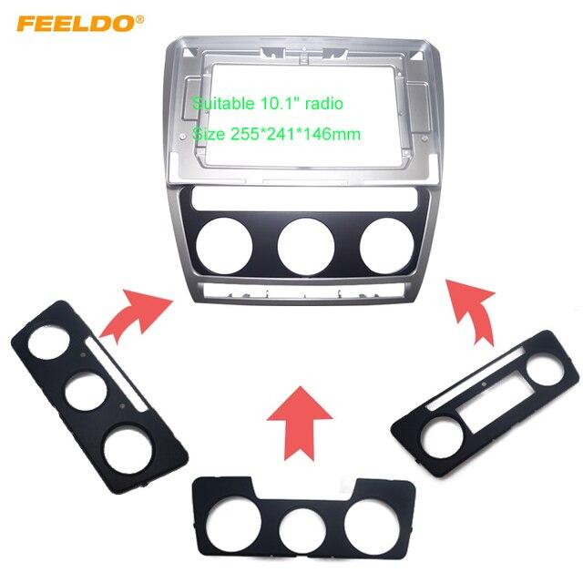 "FEELDO Car Stereo Radio for Skoda Octavia 04 14 Big Screen 10.1"" Fascia Frame Adapter 2Din DVD Player Panel Dash Frame Kit"