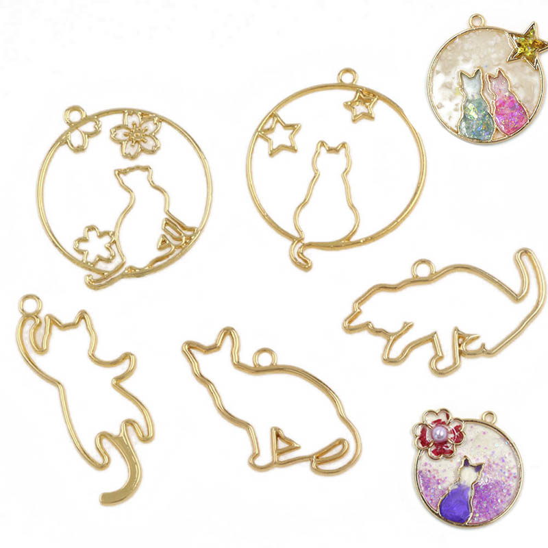 5Pcs Metal UV Epoxy Resin Mold for DIY Jewelry Making Necklace Pendant Gold Cute Kitten Cats Frame Resin Tools Accessories