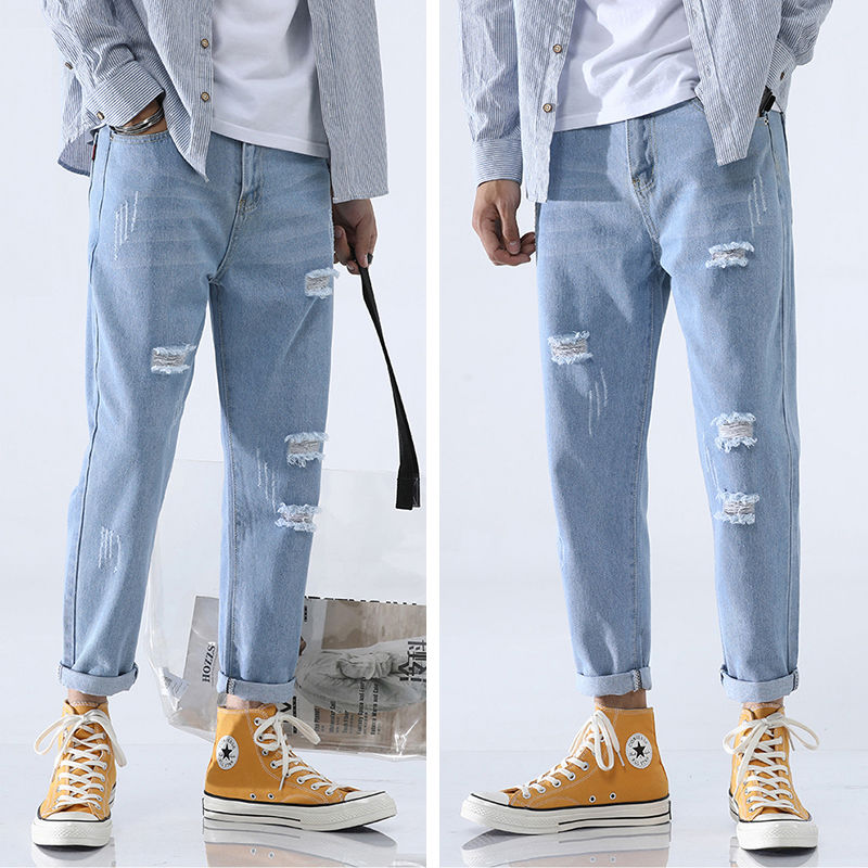 Fashionable Jeans For Men Popular Logo Baggy Wide Leg Drop Straight Leg Beggar Student Fashion Dad Pants